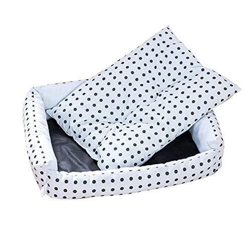 Cama para perros tamaño tumbona para gato lavable saco de dormir rosa puntos cesta perro camas para perros grandes invierno caliente perrera suave cojín Mats S (42 x 35 x 12 cm) Q