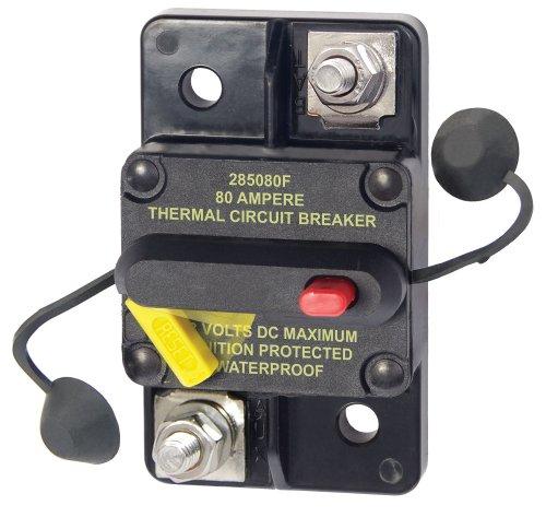 Blue Sea Systems 7186 187 Series, 285 Series & Klixon Circuit Breakers, 285 Series, Surface Mount, 80A DC