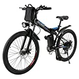ANCHEER 2019 Upgraded Electric Mountain Bike, 250W/500W 26'' Electric Bicycle with Removable 36V 8AH/12 AH Lithium-Ion Battery for Adults, 21 Speed Shifter (Spoting_Black)