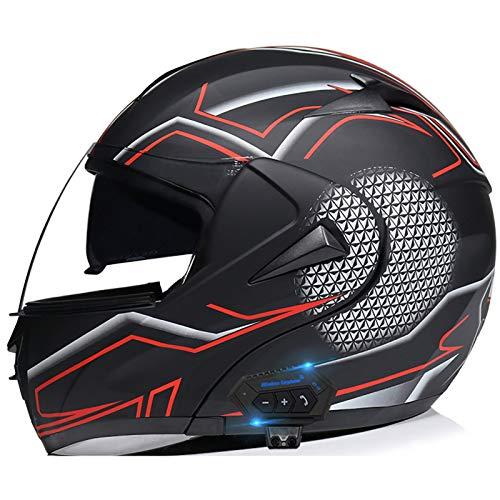 TKTTBD Casco De Moto Modular Bluetooth Integrado con Doble Anti Niebla Visera Cascos De Motocicleta ECE Homologado A Prueba De Viento Respuesta Automática Manos Libres K,M
