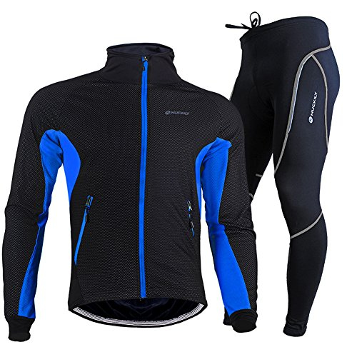 TollMode Herren Fahrradbekleidung Set Lang Winter Radjacke und Fahrradhosen (L, Blau)