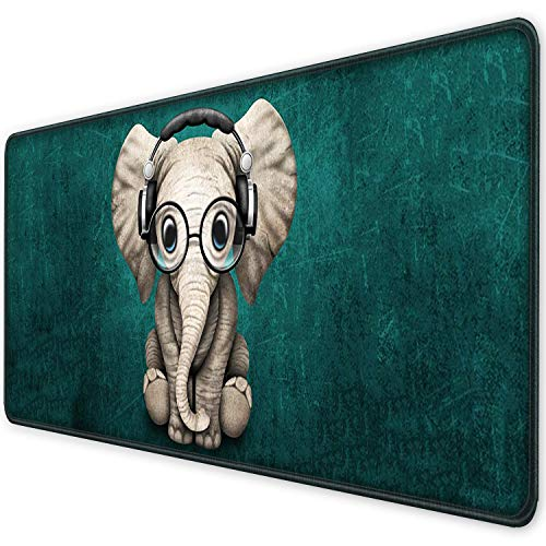 ITNRSIIET [35% Larger] Extended Gaming Mouse Pad with Stitched Edges, Long XXL Mousepad (35.4x15.7In), Non-Slip Rubber Base, Waterproof Keyboard Pad, Mouse Mat for Work Gaming Office, Cute Elephant