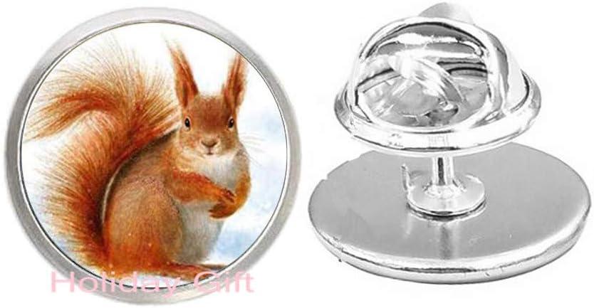Cute Chipmunks Brooch Movie Inspiration Little Animal Squirrel 3D Printed Glass Cabochon Metal Brooch.HTY-371