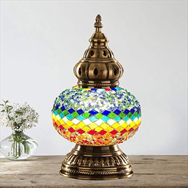 WZJ-TISCHLEUCHTE Tischlampe Study Home Decoration Lampe-Europische Schlafzimmer Nachttischlampe Mosaikglas (Farbe   B)