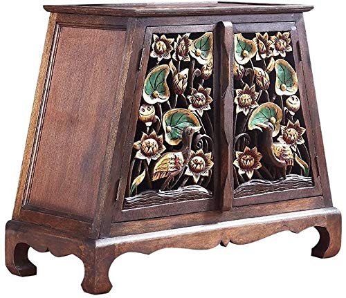 SMLCTY Vintage Living Room Cabinet Porch Table Storage Side Table Decoration Hand-carved Sofa Table Bedside Table Living Room Furniture Porch Table