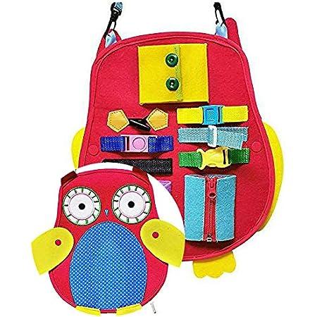 TOKIX、【ふくろうのふくちゃん】、ぼたんかけ おもちゃ、ボタンかけ おもちゃ、ひもとうし おもちゃ、 ひも通し おもちゃ、おもちゃ、知育玩具 布製、 布 おもちゃ、 指先の知育、「お着替え練習セット-C」