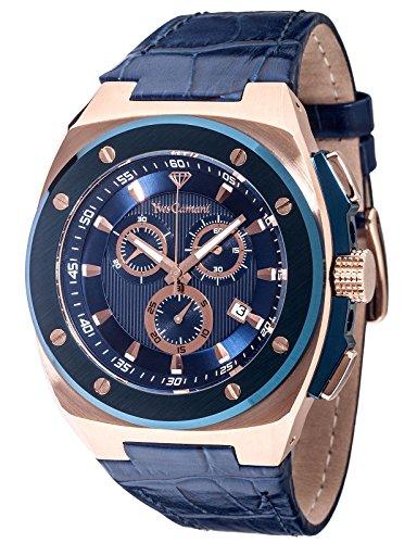 Ives Camani IT YC1072-B Orologio da Polso, Cronografo da Uomo, Cinturino in Pelle, Colore Blu