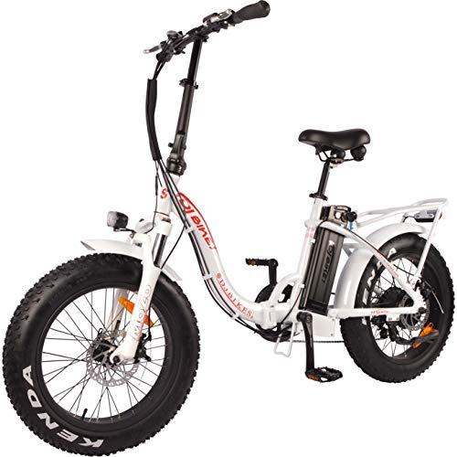 DJ Folding Bike Step Thru 750W 48V 13Ah Power Electric Bicycle, Pearl White, LED Bike Light, Suspension Fork and Shimano Gear