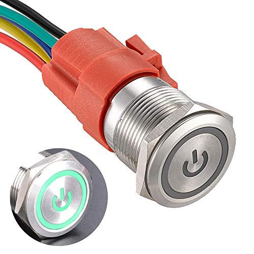 APIELE Botón de bloqueo de 19 mm, 12 V CC, símbolo de potencia, LED con conector hembra 1NO 1NC SPDT ON, encendido (carcasa plateada/verde)