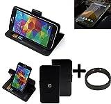 K-S-Trade® Case Schutz Hülle Für Blackview BV 5000 + Bumper Handyhülle Flipcase Smartphone Cover Handy Schutz Tasche Walletcase Schwarz (1x)