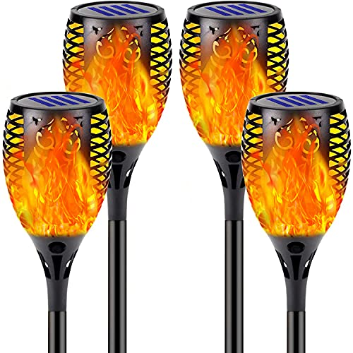 Solar Torch Lights Outdoor, 33 LED Solar Light Torches 4PcsWaterproof Landscape Garden Pathway Light with Vivid Dancing Flickering Flames, Light Sensing Automatic Switch, Garden Patio Driveway Paths