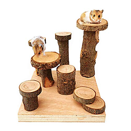 Tfwadmx Wooden Hamster Climbing Toys, Small Animals Activity Playground Stand Platform Ramps Ladder Chew Toys for Mouse Gerbil Syrian Hamster