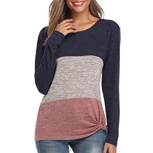 WERVOT Langarmshirt Damen Gestreiftes Pullover Sweatshirts Lose Kontrastfarbe Tunika...
