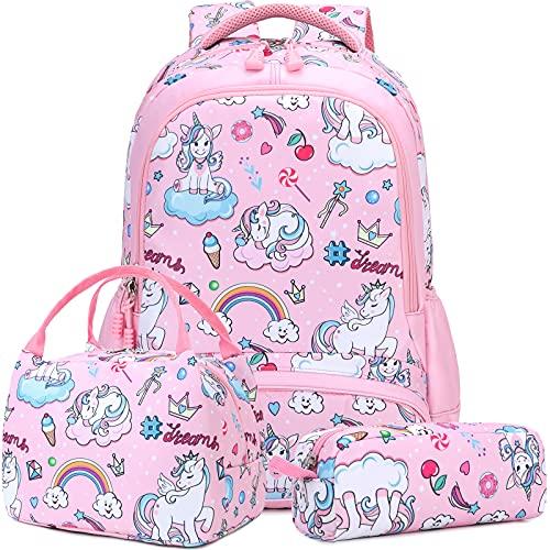 Mochila Unicornio Niños Impermeable Mochila Escolar para Adolescente Pequeñas Mochilas Infantil Bolso para Chicas para La Escuela,Viajes,Intemperie Juego de 3