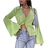 Camisa corta Y2K sexy cuello en V profundo manga larga Cardigan solapa botón abajo T ShirtE-Girl Fashion Streetwear, verde, M