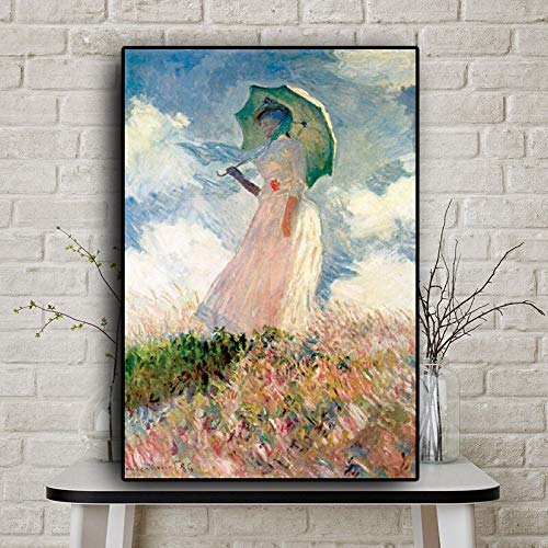 Hllhpc (geen frame) Abstract Woman met zonnescherm Madame by Claude Monet Oil Painting op canvas Posters en Prints Wall Art Picture for Living Room