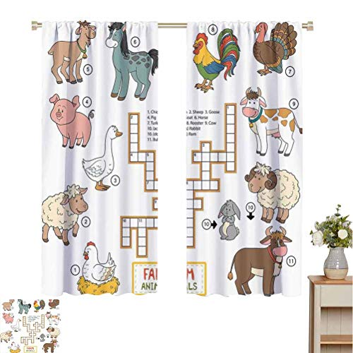 Kids Game Room Darkened Insulation Grommet Curtain Crossword Educational Puzzle for Children with Different Farm Animals and Numbers Living Room W72 x L96 Inch Multicolor