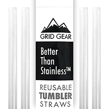 Grid Gear Reusable Tumbler Straws for 30 oz RTIC YETI Ozark Trail | Thick Plastic | Works with 16 20 Ounce Tervis | Mason Jar Straw Lids | Better Than Stainless Steel | 4 Straws per Package