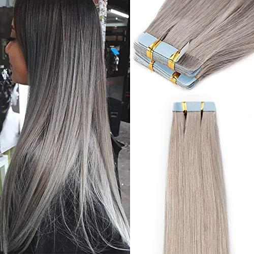 Elailite Extension Biadesivo Capelli Veri 40 Ciocche Adesive Tape Biadesive 100% Remy Human Hair Extensions Grey Capelli Umani Naturali per Donna 60cm 100g/Pack #Grigo