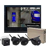 MZYKA Panorámica Imagen de Sistema Aparcamiento visión Nocturna de HD Registrador de la conducción de 360 Grados en 3D, Cámaras Universal 4, Memoria incorporada En la Pista 16G
