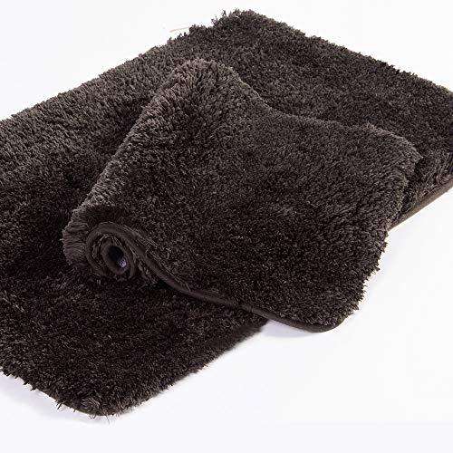 Walensee Shaggy 2 Piece Bath Rug Set, (20 x 32, 2 Pack Set, Brown) Bathroom Rug Set Bath Mats for Bathroom Machine Wash/Dry Absorbent Bathroom Mats Set Non Slip Plush Rug Sets for Shower
