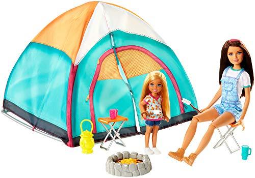 Mattel - Barbie tienda de campaña con Skipper y Chelsea muñecas con accesorios juguetes +3 años ( FNY39)