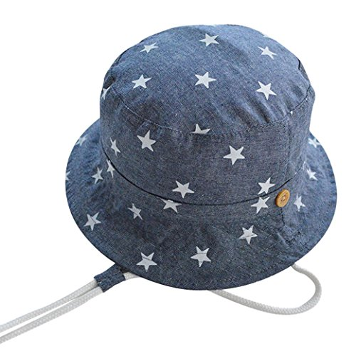 Happy Cherry Kinder Hut Unisex Mädchen Jungen Baumwolle Sonnenhut Kids Mütze Sommer Kappe UV Schutz Stern Drucken Muster Sonnenschutz Kindermütze 54cm - Blau