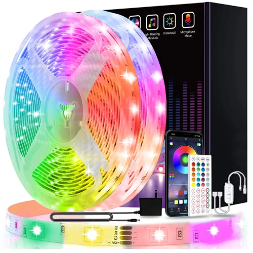 15,2 m lange LED-Leuchten, USTO-Musik-Synchronisation, Farbwechsel, LED-Lichtleiste mit Handy-App-Steuerung und Fernbedienung, LED-Lichter für Schlafzimmer, Wohnzimmer, Party, Heimdekoration