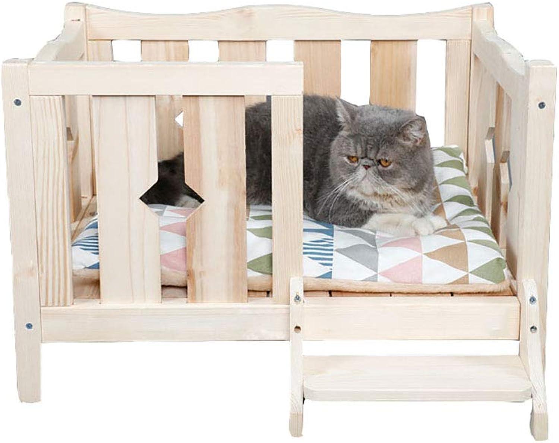 DJLOOKK Pet Cat Dog Indoor and Outdoor House Dog Bed Pet Wooden Bed Teddy Puppy Nest Cat Litter Kennel