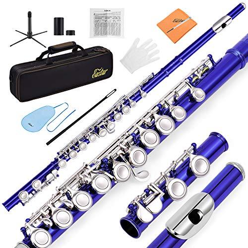 Eastar EFL-1B C Flöte 16 geschlossen Löcher Querflöte Instrument Vernickelt Flöte Anfänger Set mit Flötenständer Koffer Reinigungstuch Handschuhe, Blau