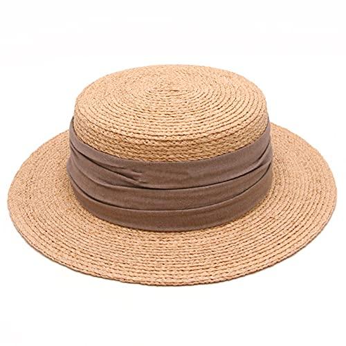 DJH Sombrero para el Sol para Mujer, protección UV Flexible, Gorras para el Sol de ala Ancha, Sombrero de Playa de Paja con Parte Superior Plana y Redonda