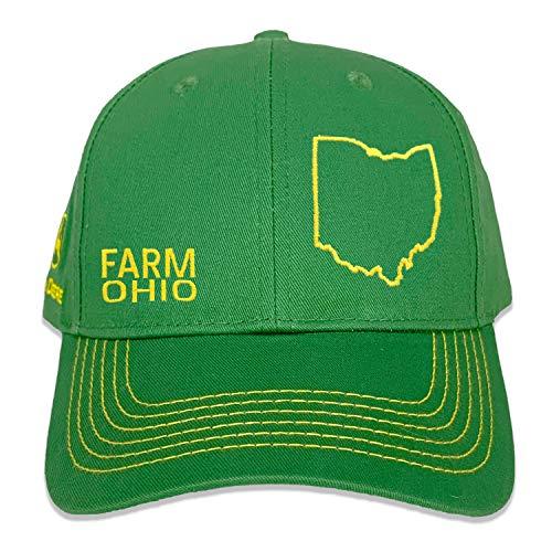 John Deere Farm State Pride - Sombrero de sarga completo, color verde y amarillo, Ohio, talla única