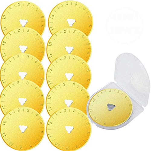 10 Pack Titanium Coated Rotary Cutter Blades 45mm Replacement Blades Quilting Scrapbooking Sewing Arts Crafts,Sharp and Durable&Paper Cutting Qui lter Leather Cutter Tool (Golden)