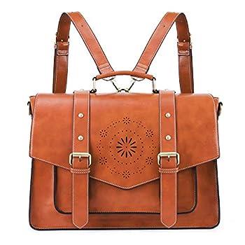 ECOSUSI Backpack for Women Briefcase Messenger Laptop Bag Vegan Leather Satchel Work Bags Fits 15.6 inch Laptops Brown