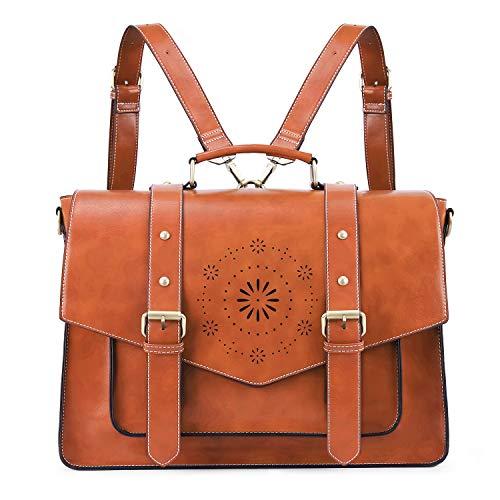ECOSUSI Umhängetasche Damen Vintage Laptoptasche 15,6 Zoll Schultertaschen Arbeitstasche Handtasche Khaki