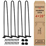 28 Inch Hairpin Legs – 4 Easy to Install Metal Legs for Furniture – Mid-Century Modern Legs for Dining and End Tables, Chairs, Home DIY Projects + Bonus Rubber Floor Protectors by INTERESTHING Home