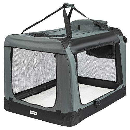 ONVAYA® Faltbare Transportbox für Hunde & Katzen | M - XXL | Faltbare Hundebox oder Katzenbox für Auto & Zuhause | Farbe grau schwarz (XL)