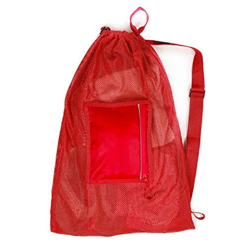 Fitdom Large Mesh Swim Drawstring Sling Bag. Best for Swimming, Gym & Beach (Fiery Red)