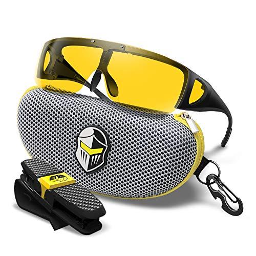 BLUPOND Wrap Around Oversized Sunglasses - Fit Over Prescription Glasses for Women/Men With Flip Up Semi Polarized Yellow Anti Glare Lens - KNIGHT VISOR