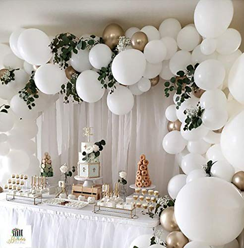 Beaumode White and Gold Balloon Garland Kit Balloons Arch of 109pcs Assorted Latex Balloons for Baby Shower White Wedding Bachelorette Party Bridal Shower White Christmas Decoration Backdrop Party Supplies