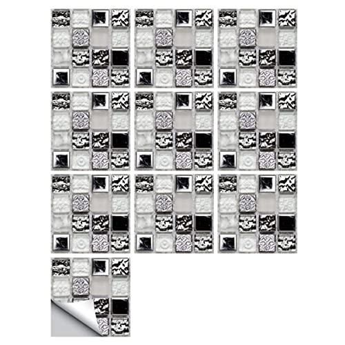 10Pcs Baldosa Adhesiva Pared Backsplash Mármol Efecto de mosaico Pegatinas para azulejos, autoadhesivas a prueba de agua para bricolaje para baño, cocina, decoración del hogar ( Size : 30*30cm )