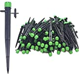 (100-PACK) - 1/4' Inch Universal 360 Degree Drip Emitter On 6' Stake - Adjustable Flow 0-18.5 GPH Fit 1/4 (4-7mm) Drip Irrigation Tubing - Professional Grade Drippers for Drip Irrigation