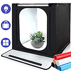 SAMTIAN Photo Studio Portable 16''x16''x16 '' / 40 * 40 * 40cm light tent lighting studio shooting tent box with 4 background paper (black, white, gray and blue) for photography