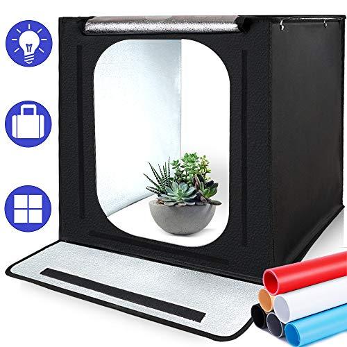 SAMTIAN Fotostudio Portable 16''x16''x16 ''/40*40*40cm Lichtzelt Beleuchtung Studio Schießen Zelt Box mit 4 Hintergrundpapier (schwarz, weiß,grau und Blau) für Fotografie