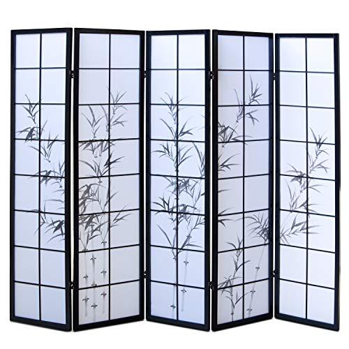 Homestyle4u 287, Paravent Raumteiler 5 teilig, Holz Schwarz, Reispapier Weiß Motiv Bambus, Höhe 175 cm