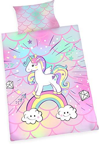 Wajade Juego de ropa de cama infantil de unicornio, funda de edredón azul y fundas de almohada, funda de edredón de color rosa, con cremallera, suave, blanco, multicolor, negro, blanco, luna, regalo