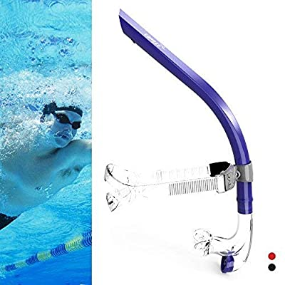 COPOZZ Swim Snorkel for Lap Swimming Swimmers Training Snorkeling Diving, Center Mount Comfortable Silicone Mouthpiece One-Way Purge Valve, Easy to Breath for Pool and Open Water (4300 B)