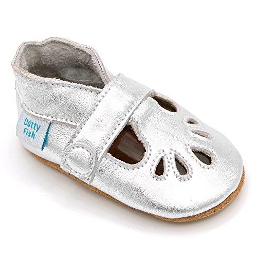 Dotty Fish Weiche Baby Lederschuhe. Klassische T-Bar Schuhe für Mädchen Silber. 6-12 Monate (19 EU)