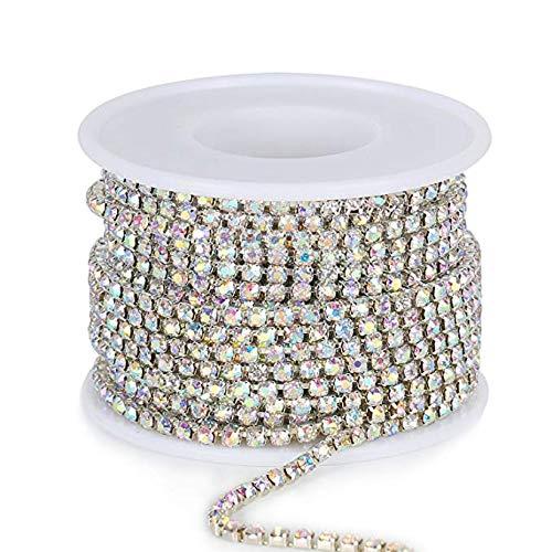 10Yard 2.8MM Clear Crystal Rhinestone Chain Close Trim Cup Chain Bulk for Craft Jewelry Making