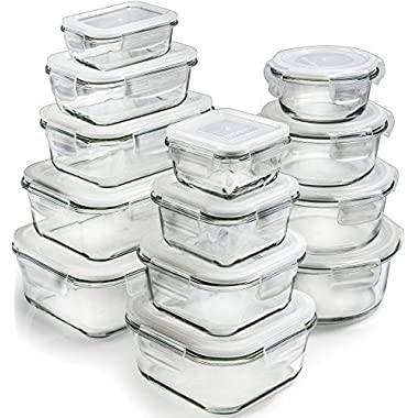 [13-Pieces +Lids] Glass Storage Containers - Glass Food Storage Containers Airtight - Glass Containers With Lids - Glass Meal Prep Containers Glass Food Containers - Glass Lunch Containers